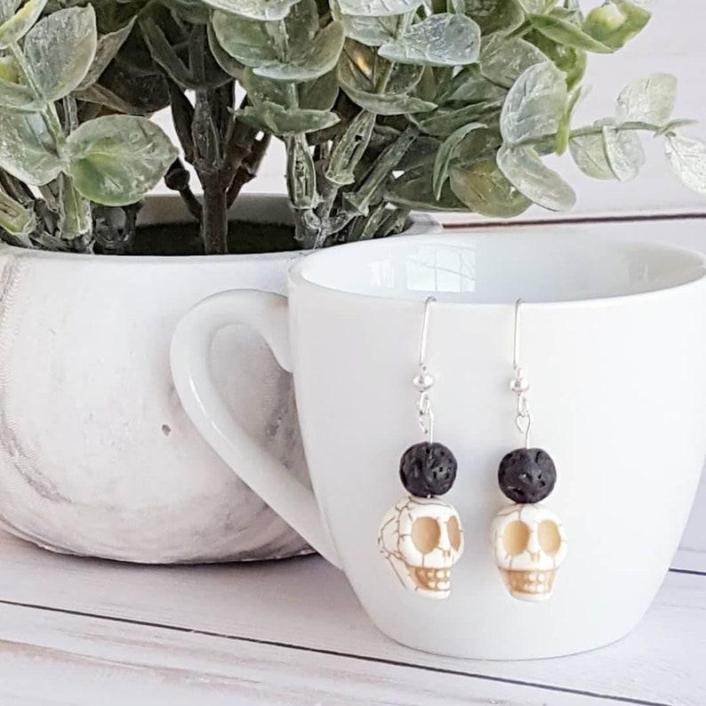 Memento Mori Skull Diffuser Earrings Essential Oil Jewelry image 0