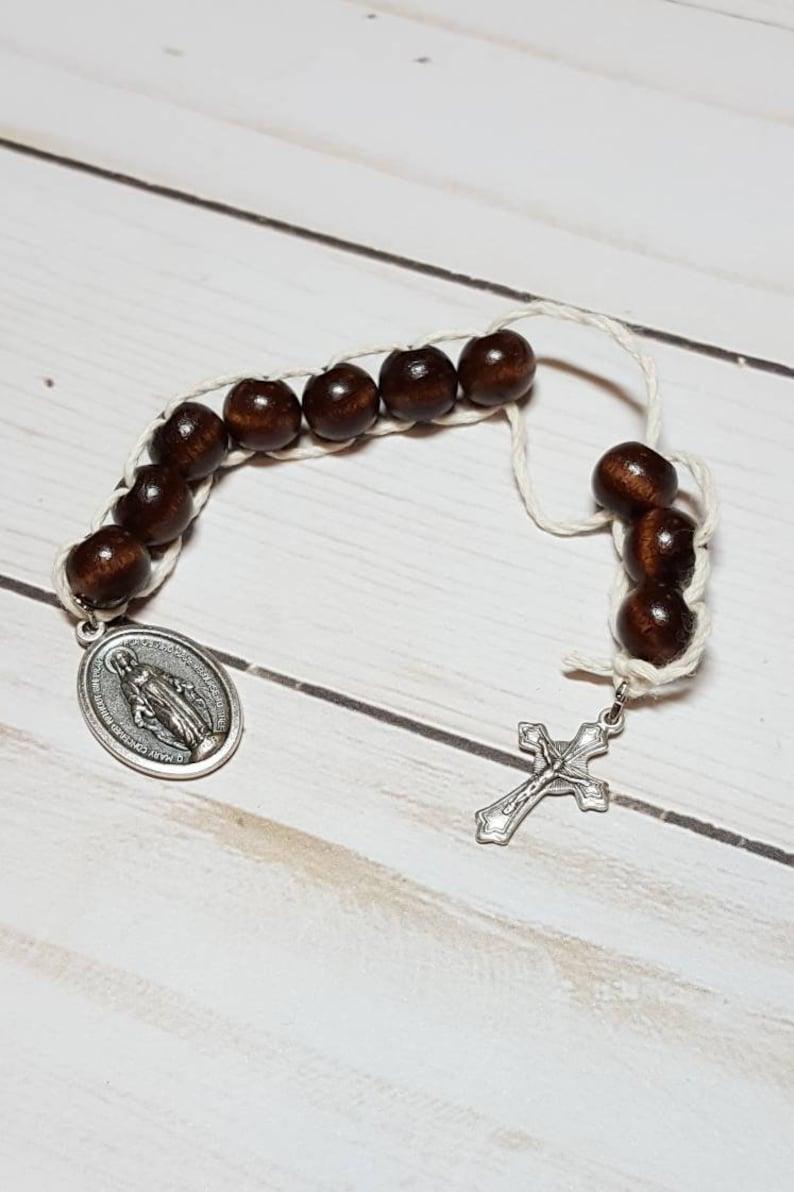 Sacrifice Beads Polished Mahogany Wood Bead St Therese Good image 0