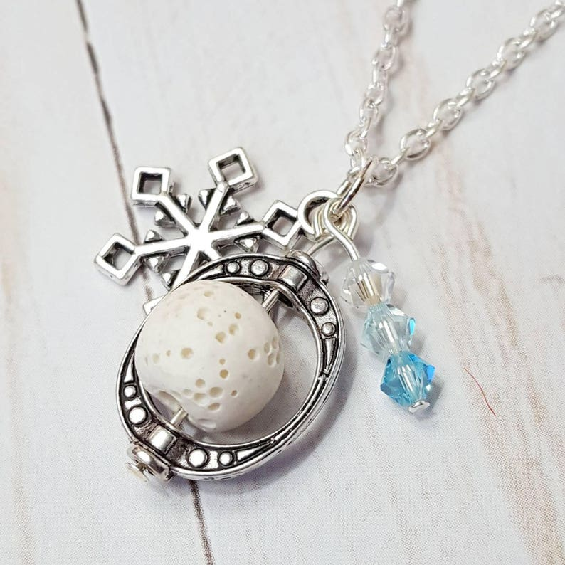 Snowflake Diffuser Necklace Essential Oil Jewelry Aromatherapy image 0