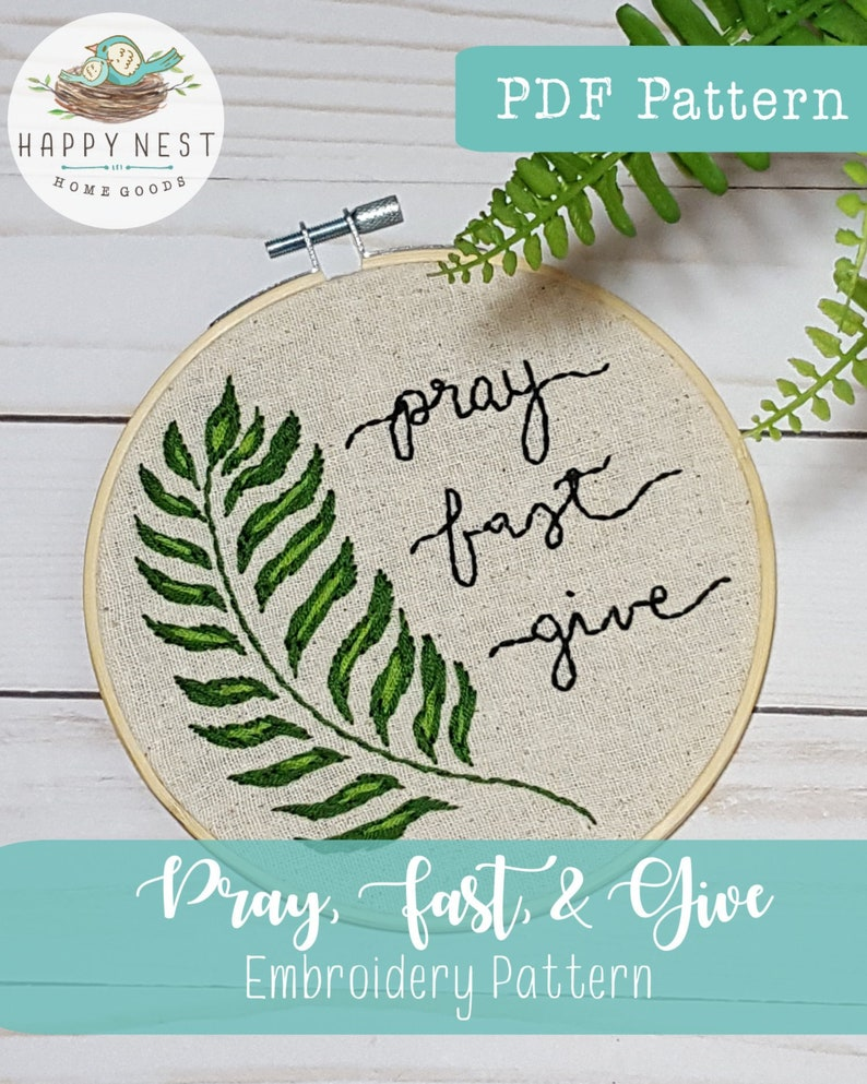 PDF Embroidery Pattern Pray Fast Give Modern Catholic image 0