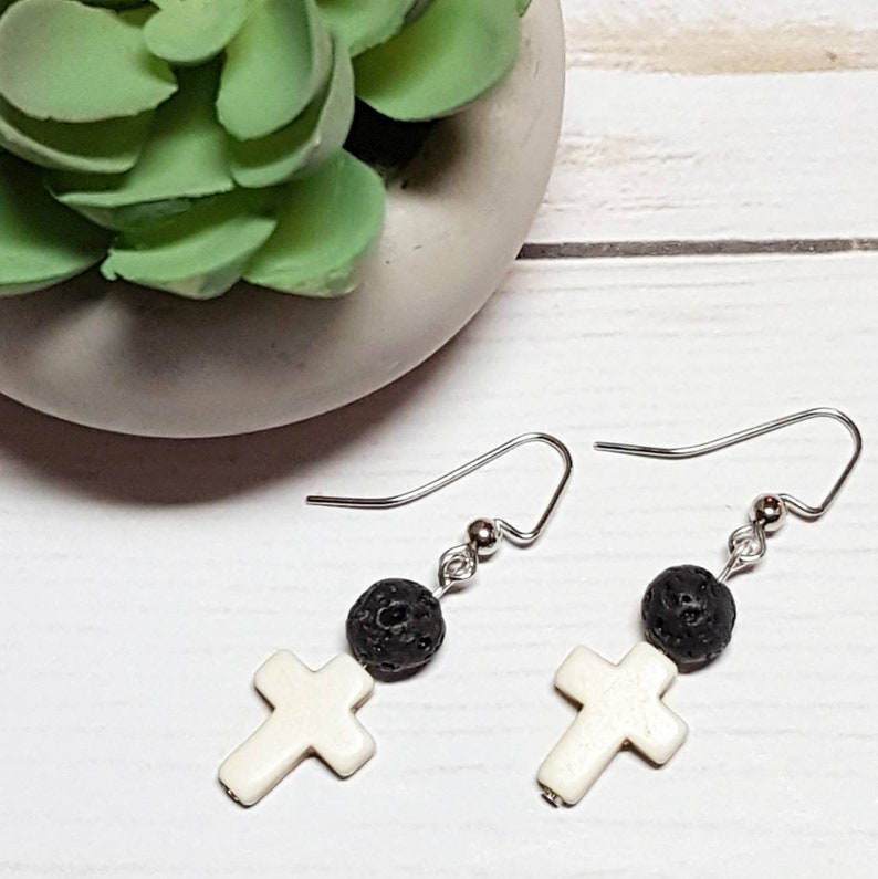 Cross Diffuser Earrings Essential Oil Jewelry Lava Stone image 0
