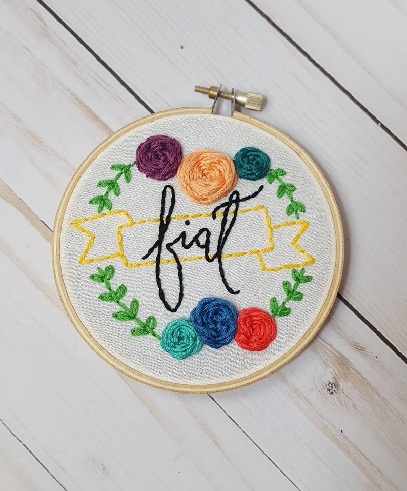 Custom Word Embroidery Hoop Word of the Year Personalized image 0