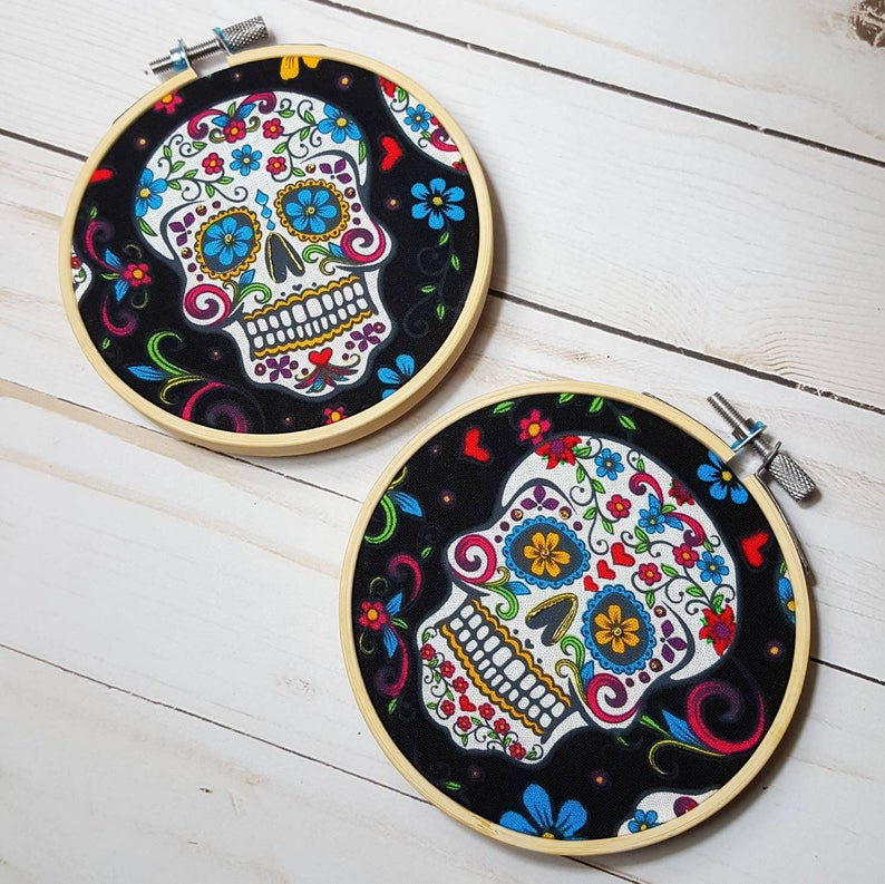 Day of the Dead Decoration Sugar Skulls Embroidery Hoops Dia image 0