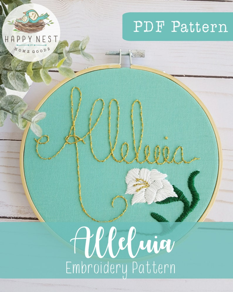PDF Alleluia Embroidery Pattern Modern Catholic Embroidery image 0
