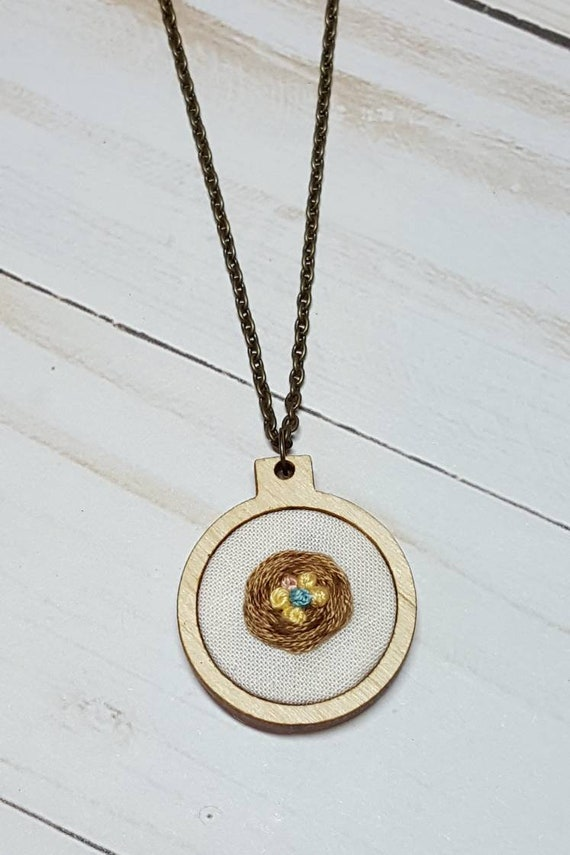 Embroidered Bird's Nest Memorial Necklace