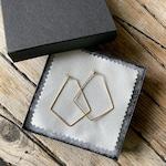Raw brass geometric hoop earrings