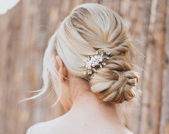 "Beaded Hair Comb, Pearl Hair Accessories, Bridal Accessories - ""Lela"" Small Pearl and Rhinestone Hair Comb (Silver, Gold, Rose Gold or Opal)"