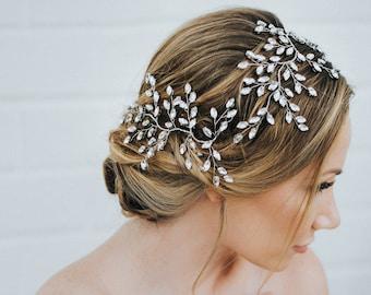 """Wedding Hair Accessories, Bridal Hair Vine, Bridal Hair Accessories, Bridal Headpiece ~ """"Verena"""" Wedding Hair Vine - Silver, Gold, Rose Gold"""