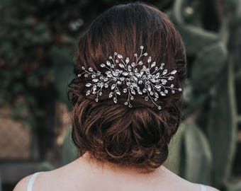 """Bridal Hair Comb, Crystal Pearl Hair Piece, Wedding Headpiece, Boho Hair Accessories in Silver, Opal, Gold or Rose Gold - """"Jessica"""" Large"""
