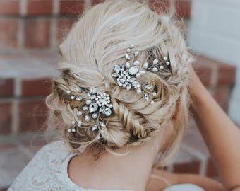 "Wedding Hair Accessories, Bridal Hair Pin, Bridal Hair Accessories, Bridal Headpiece ~ ""Carmen"" Wedding Hair Pin in Silver or Gold"