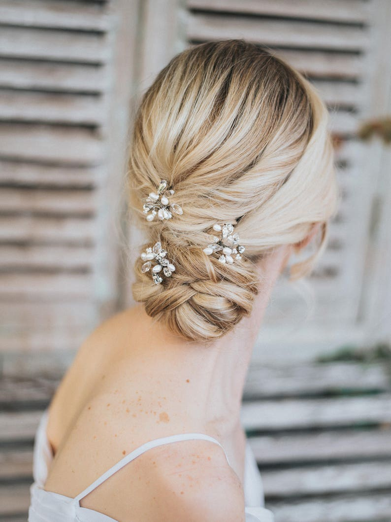 Pearl and Crystal Bridal Hair Pin in Silver Beaded Hair Pin Pearl Hairpin Gold or Rose Gold Bridal Accessories ~ Danielle Rhinestone