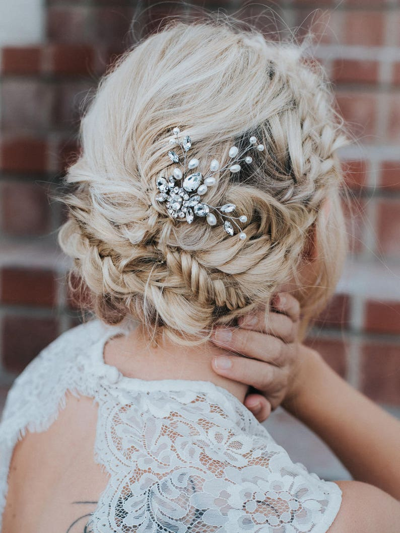 Bridal Headpiece ~ Carmen Wedding Hair Pin in Silver or Gold Bridal Hair Accessories Bridal Hair Pin Wedding Hair Accessories