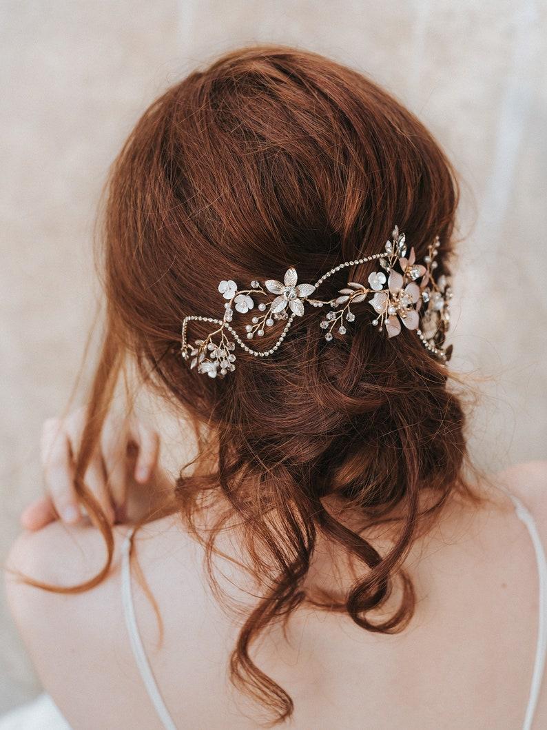 Bridal Hair Accessories Bridal Headpiece ~ Analisa Gold Flower Hair Vine Headband Wedding Hair Accessories