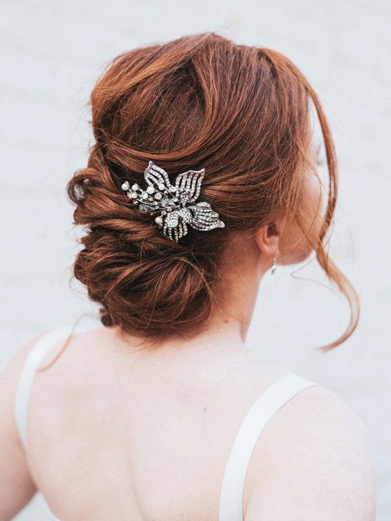 Silver Rhinestone And Pearl Flower Bridal Hair Comb Wedding Etsy