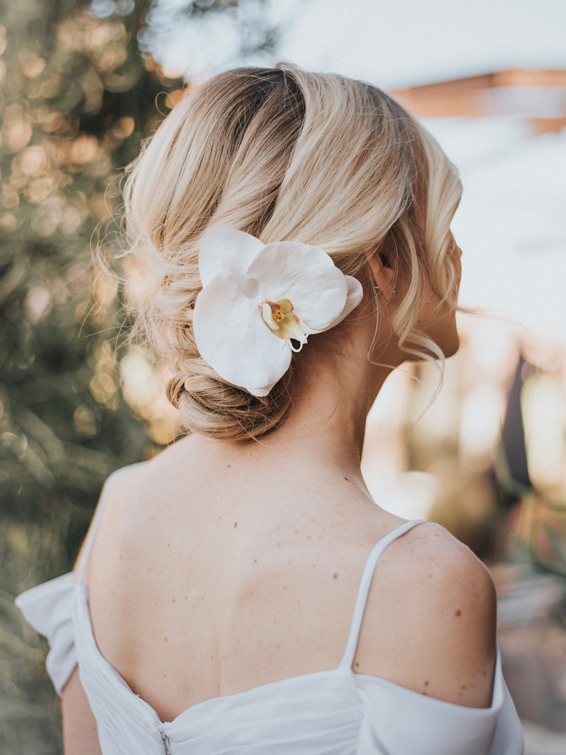 Bridal Headpiece ~ Carley Real Feel Orchid Bridal Hair Flower ...
