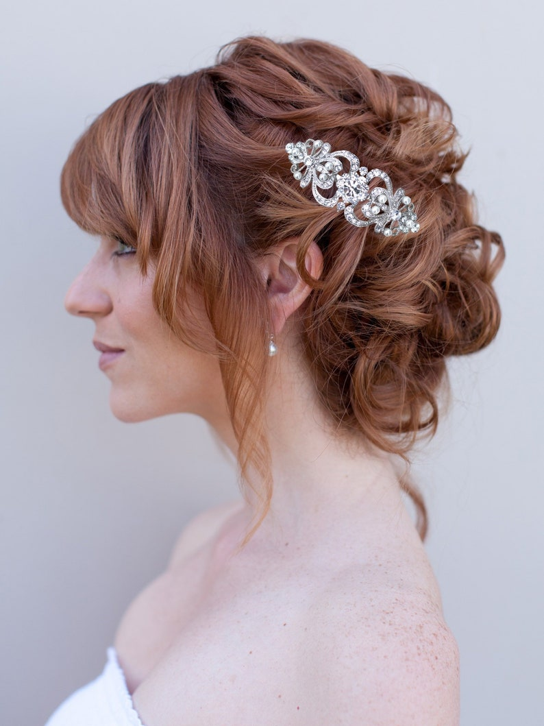 Romantic And Classic Silver Pearl Rhinestone Bridal Hair Comb Etsy