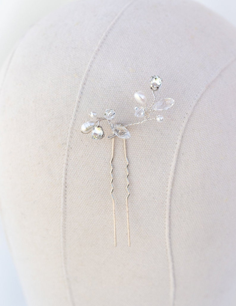 Hair Pin for Bride Hairpin ~ Stacy Rhinestone and Pearl Hair Pin in Silver or Gold with Clear or Opal Rhinestones Bridal Hair Pin