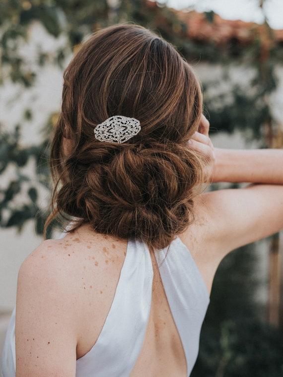 Small Classic Silver Rhinestone Bridal Hair Comb Wedding Etsy