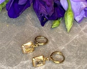 Champagne Glass Rectangular Rhinestone, Brass Coloured Hoop Earrings