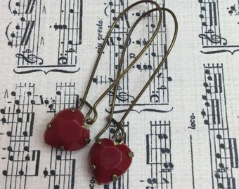 Red Valentine Heart Vintage Style Earrings