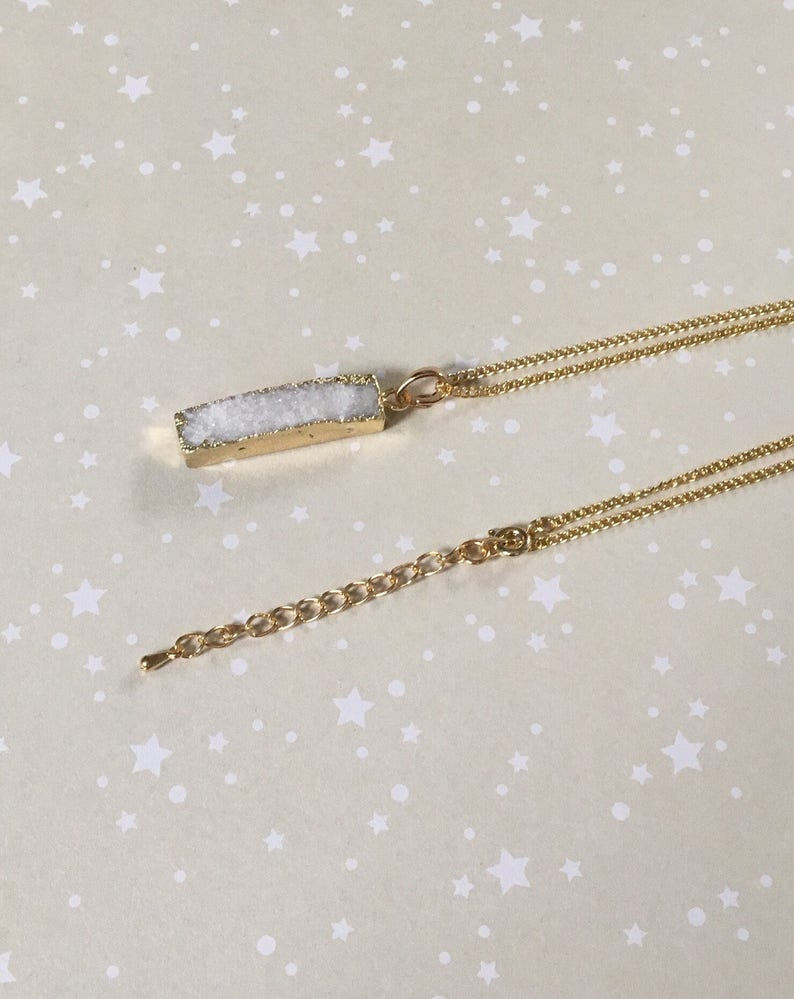 Natural White Druzy and Gold Plated Lozenge Shaped Pendant Necklace
