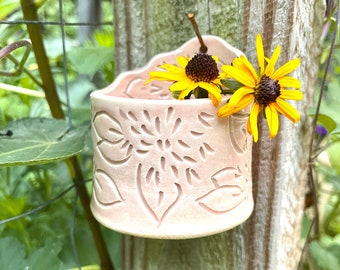 Hanging Pot: Blush with Carved Dahlias