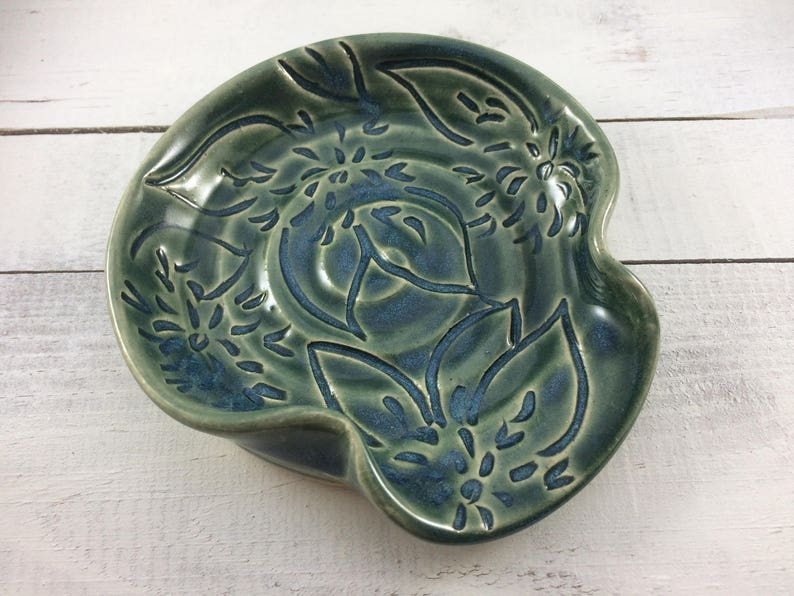Ready to Ship Stoneware Spoon Rest with Dahlia Flower Carving in Teal Ceramic Spoon Rest