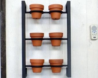 Hanging planter, indoor/outdoor herb garden, Hanging herb garden, fixer upper inspired vertical 6 pot herb garden