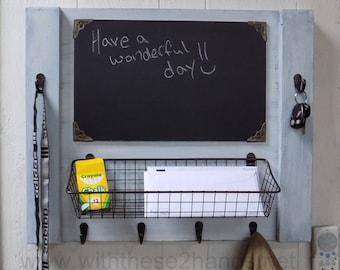 Mail organizer, entryway organizer, coat rack, whiteboard, chalkboard, corkboard,