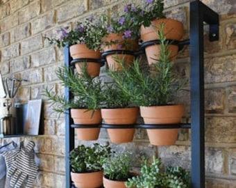 Hanging planter, indoor/outdoor herb garden, Hanging herb garden, fixer upper inspired 9 pot wall hanging herb garden