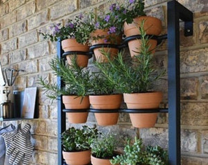 Featured listing image: Hanging planter, indoor/outdoor herb garden, Hanging herb garden, fixer upper inspired 9 pot wall hanging herb garden