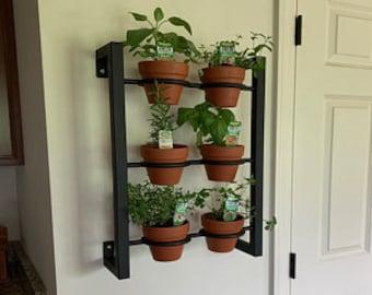 Hanging planter, indoor/outdoor herb garden, Hanging herb garden, fixer upper inspired vertical 6 pot wall hanging herb garden