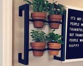 Hanging planter, indoor outdoor herb garden, Hanging herb garden, fixer upper inspired 4 pot wall hanging herb garden