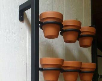 Hanging planter, indoor/outdoor herb garden, Hanging herb garden, fixer upper inspired 9 pot herb garden inward tabs