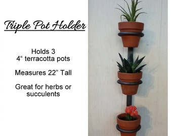 3 Pot Hanging planter, indoor herb garden, Hanging herb garden, fixer upper inspired herb garden