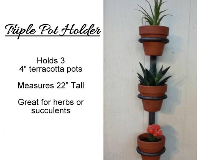 Featured listing image: 3 Pot Hanging planter, indoor herb garden, Hanging herb garden, fixer upper inspired herb garden