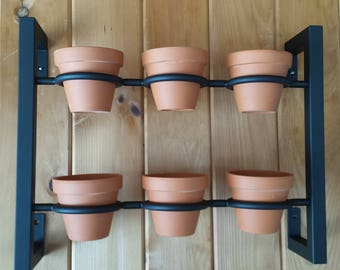 Hanging planter, indoor/outdoor herb garden, Hanging herb garden, fixer upper inspired 6 pot herb garden inward tabs