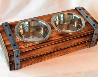 Dog Food Bowl Stand, Elevated Dog Bowl Stand,  Industrial design, rustic design