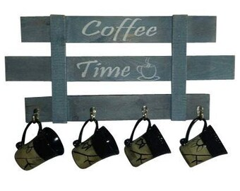 Coffee Mug Rack, Coffee mug holder, Mug tree, Coffee mug hooks, Country Decor, Farmhouse Decor, reclaimed wood