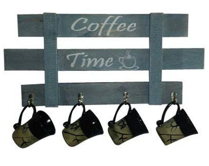 Featured listing image: Coffee Mug Rack, Coffee mug holder, Mug tree, Coffee mug hooks, Country Decor, Farmhouse Decor, reclaimed wood