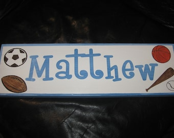 Personalized sports themed name sign