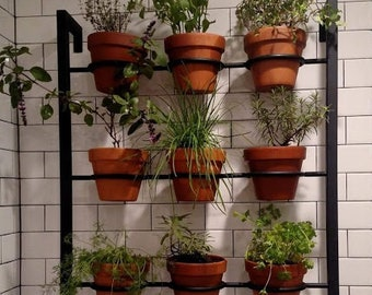 large hanging 9 pot plant holder hanging herb garden - Hanging Herb Garden
