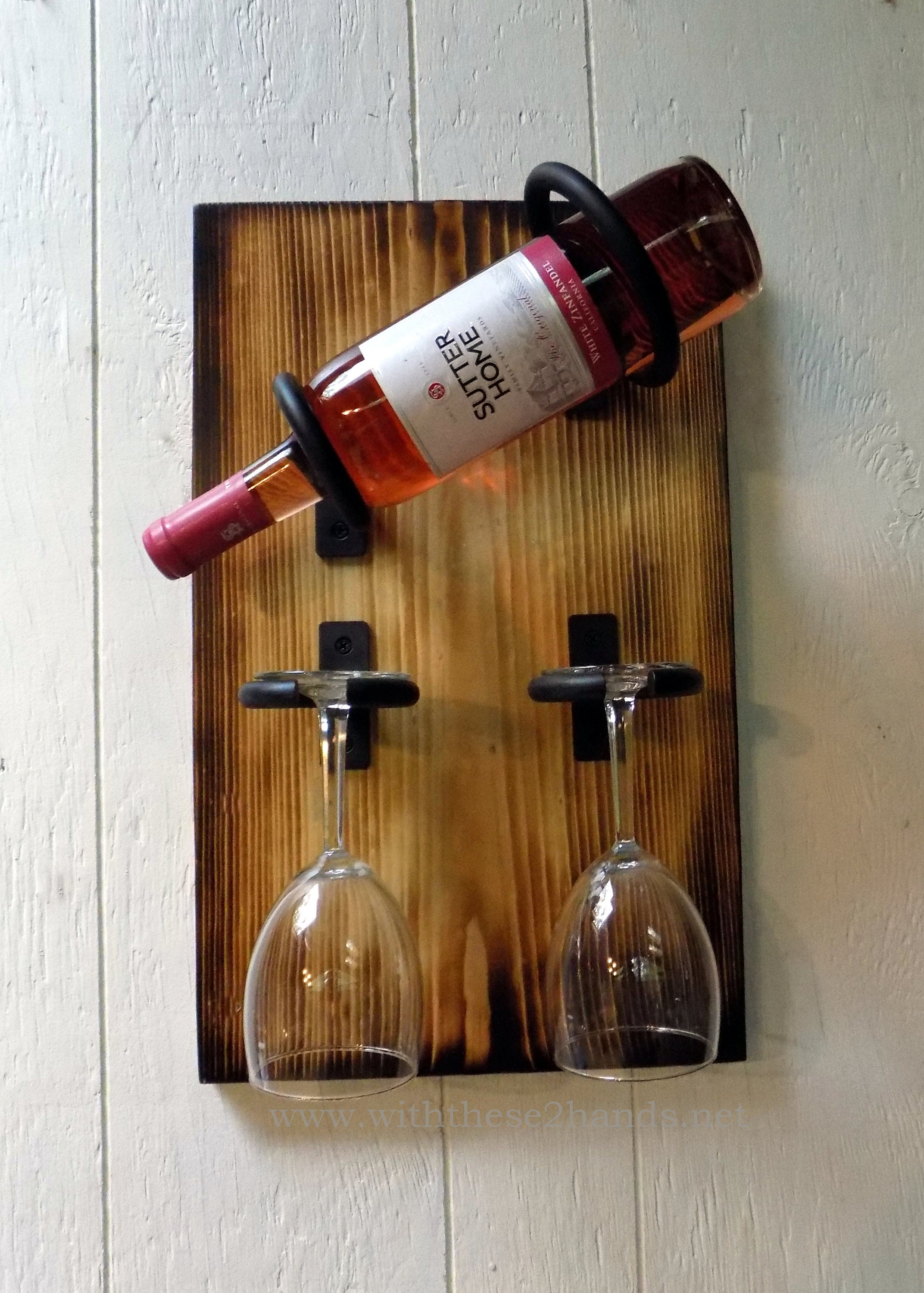 Single Bottle Wine Rack Hanging Wine Bottle And Wine Glass Holder