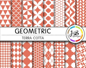 Geometic Digital Paper, Terra Cotta, Orange, White, Tribal, Tiangles, Digital Paper, Digital Download, Scrapbook Paper, Digital Paper Pack