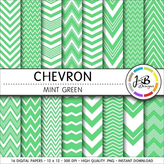 Chevron Digital Paper Mint Green Green White Chevron Zig Etsy