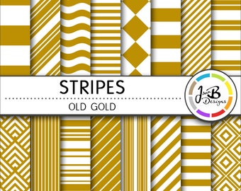 Stripes Digital Paper, Old Gold, Yellow, White, Stripes, Nautical, Digital Paper, Digital Download, Scrapbook Paper, Digital Paper Pack