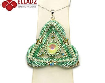 Tutorial Minty Triangle Pendant-peyote stitched triangle pendant,beading tutorial, beading pattern, design by Ellad2