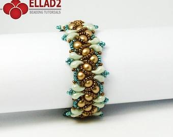 Tutorial Wave Bracelet - Beading tutorial, beading pattern, instant download, design by Ellad2