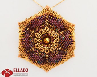 Tutorial Loulou Pendant-Beading Tutorial,Beading pattern,Instant download, Ellad2
