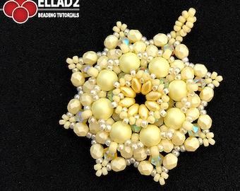 Tutorial Jonquil Pendant - Beading Tutorial, Beading pattern, Jewelry tutorial, instant download, pdf file, design by Ellad2
